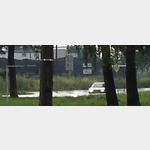 überschwemmte Straße in Elblag nach dem Regen