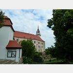 34 - Torgau, Blick auf den Rosengarten von Schloss Hartenfels und den Hausmannsturm