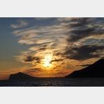 Sonnenuntergang in Benidorm von Calpe aus gesehen